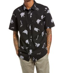 men's vans thank you classic fit floral print short sleeve button-up shirt, size small - black