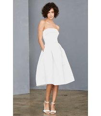 women's amsale strapless faille a-line dress, size 0 - white