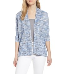 women's bobeau luann open front cardigan, size x-small - blue