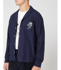 folk men's soft collar shirt - charm embroidery navy - 3/m - blue