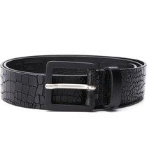 diesel embossed crocodile effect belt - black