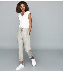 reiss claude - herringbone linen trousers in oatmeal, womens, size 10