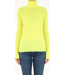 balmain high neck stretch yellow sweater