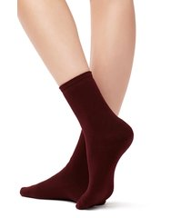 calzedonia - short cotton thermal socks, one size, burgundy, women