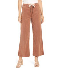 women's paige carly drawstring high waist jeans, size 29 - brown