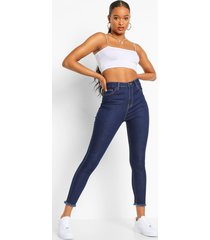skinny jeans met hoge taille en gerafelde zoom, dark blue