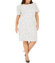calvin klein plus size tweed sheath dress
