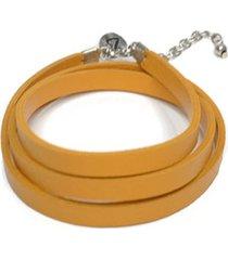 pulsera de mujer amarillo stringa 4 giri moneta  leather collection vestopazzo