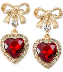 holiday lane gold-tone bow & crystal heart drop earrings, created for macy's