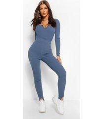 premium geribde legging met driekwartpijpen, blauw