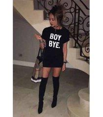 women ladies black boy bye turn up short sleeve t-shirt tops slim dress