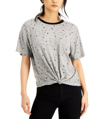 self esteem juniors' celestial printed knot-front ringer t-shirt