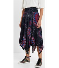 asymmetric midi skirt - blue - xl