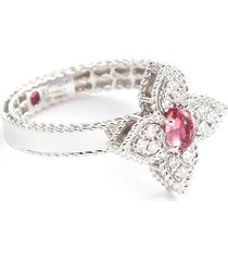'princess flower' diamond tourmaline 18k white gold ring