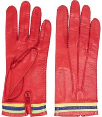 céline pre-owned pre-owned striped detail leather gloves - red