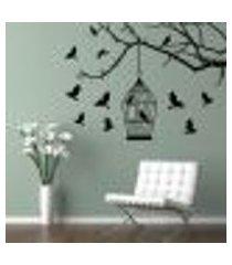 adesivo de parede galho e pássaros 02 - g 70x100cm