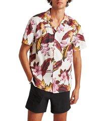 men's bonobos cabana tropical short sleeve button-up camp shirt, size medium - burgundy