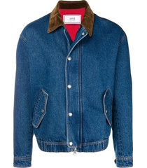quilted zipped denim jacket