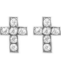 orecchini croce in argento 925 rodiato e zirconi per donna