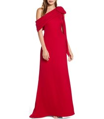 women's tadashi shoji one-shoulder crepe column gown, size 6 - red