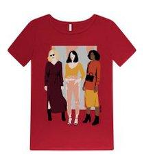 lez a lez - t-shirt estampada com glitter vermelho