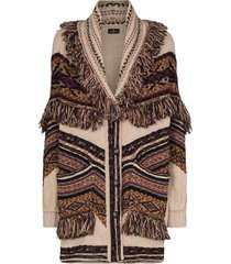 etro fringe intarsia-knit cardigan - brown