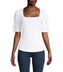 design 365 women's lace-up puffed-sleeve top - white - size m