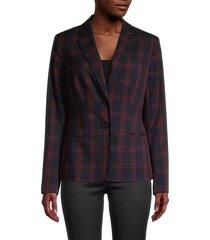 tommy hilfiger women's plaid-print blazer - midnight - size 2