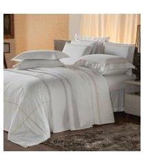 jogo de cama queen plumasul premium harmonious 4 pçs bordado dourado