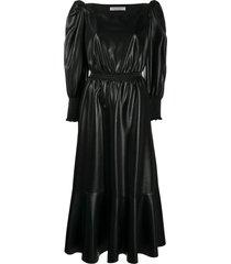 philosophy di lorenzo serafini puff-sleeve vegan leather dress - black