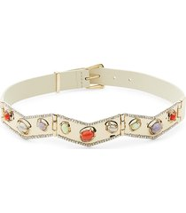 alexis bittar women's 10k goldplated, leather & multi-stone necklace