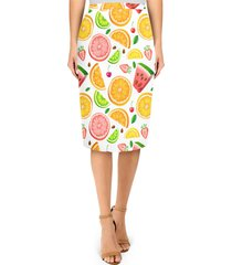 summer fruits midi pencil skirt