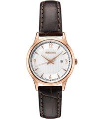 seiko women's essential brown leather strap watch 28.7mm