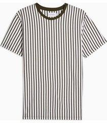 mens khaki and white vertical stripe t-shirt