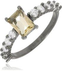 anel retângulo luxo citrino di capri semi jóias x ródio negro incolor