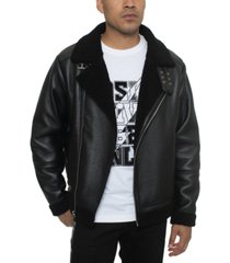 sean john men's faux shearling asymmetrical motorcycle jacket