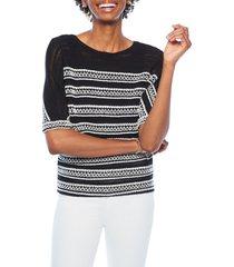 women's nic+zoe celestial stripe sweater, size large - metallic