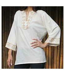 cotton blouse, 'cosmopolitan cloud' (thailand)