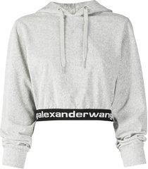 heather grey stretch corduroy cropped hoodie