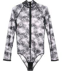 fleur du mal bouquet lace turtleneck bodysuit - preto