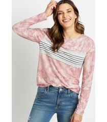 maurices womens tie dye stripe sweatshirt pink