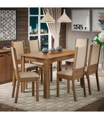 conjunto sala de jantar amanda madesa  mesa tampo de madeira com 6 cadeiras marrom - marrom - dafiti