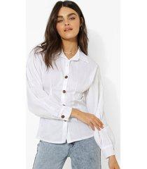 blouse met korset taille en volle mouwen, ivory