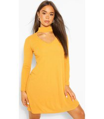 cut out high neck swing dress, mustard