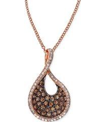 effy espresso diamond swirl pendant necklace (1/2 ct. t.w.) in 14k rose gold