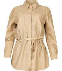 leren blouse ted  beige