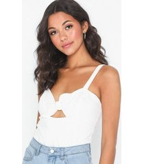 nly trend bow crop top linnen