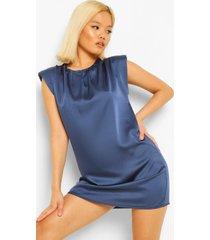 petite satijnen mini jurk met schouderpads, blue