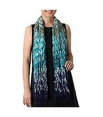 tie-dyed rayon blend scarf, 'rainwater' (thailand)