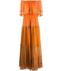 alberta ferretti off the shoulder maxi dress - orange